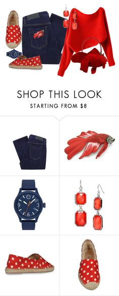"""""""Gone Fishin'"""" by halebugg ❤ liked on Polyvore featuring Victoria Beckham, Movado, Valentino, vintage, skinny jeans, drop earrings, polka dots, navy watch, fish brooch and red sweater"""