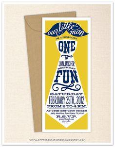 Little Man Birthday Invitation 4 x 9.25 - Kraft Envelope - Kids Birthday, First Birthday, Bow tie, Mustache, Whimsical