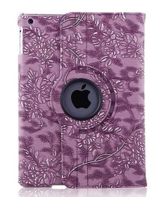 Take a look at the Purple Floral Embossed Faux Leather Rotating iPad Case on #zulily today!
