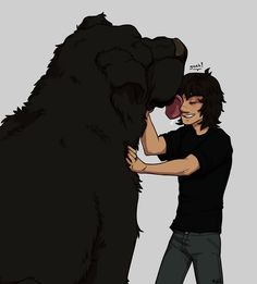 Nico Di Angelo and Mrs. O'leary. This is by far my favorite drawing of Nico ever. It's do accurate to what I pictured him to look like.