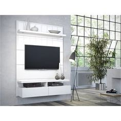 Manhattan Comfort Cabrini Floating Wall Theater Entertainment Center in Black Gloss and Black Matte - Home Theater Floating Entertainment Center, Diy Entertainment Center, Tv Panel, Tv Wall Decor, Wall Tv, Bed Wall, Floating Wall, Wall Mounted Tv, Decoration