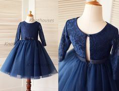 Long Sleeves Navy Blue Lace Tulle Flower Girl Dress by knothouses