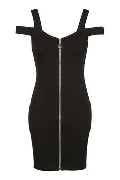 Zip Front Bardot Dress - Dresses - Clothing
