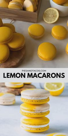 Lemon Macarons filled with lemon curd and buttercream! Lots of tips on this post about how to store French macarons! Köstliche Desserts, Delicious Desserts, Dessert Recipes, Yummy Food, French Desserts, Fun Baking Recipes, Sweet Recipes, Cookie Recipes, Lemon Cookie Recipe