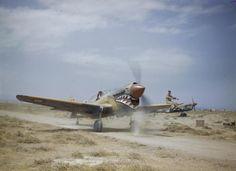 A Curtiss Kittyhawk Mark III of No 112 Squadron, Royal Airforce, taking off through the scrub at Medenin