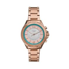 """Hybrid Smartwatch Sadie Rose Gold-Tone Stainless Steel Looks like a watch, acts like a smartwatch—this 38mm Sadie hybrid smartwatch features a rose gold-tone stainless steel bracelet, never has to be charged and uses smart technology to send you notifications, track your activity and more.The Fossil Smartwatches App is provided by Fossil Group, Inc. so your data will be stored in the USA. See the Fossil Smartwatches App Privacy Policy and Terms of Use for more (accessible below at """"Customer… Smartwatch Features, Fossil Watches, Privacy Policy, Stainless Steel Bracelet, Sadie, Gold Watch, Smart Watch, Track, Rose Gold"""