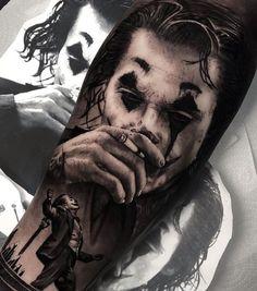 Clown Tattoo, Joker Face Tattoo, Catrina Tattoo, Joker Tattoos, Skull Tattoos, Quarter Sleeve Tattoos, Best Sleeve Tattoos, Tattoo Sleeve Designs, Batman Tattoo Sleeve
