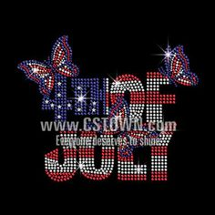 Bling 4th of July with A Hat Fireworks Iron on Rhinestone Transfer Motif