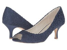 FSJshoes - FSJ Shoes Women's Elegant Navy Floral Lace Peep Toe Pencil Heel Bridal Shoes - AdoreWe.com