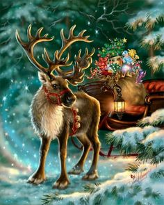 Rudolph,the Red-nosed reindeer, had a very shiny nose. And if you ever saw him, you would even say it glows. All of the other reindeer used to laugh and call him names. They never let poor Rudolph play in any reindeer games. Christmas Scenes, Christmas Deer, Christmas Past, Christmas Animals, Vintage Christmas Cards, Christmas Pictures, Christmas Greetings, Winter Christmas, Xmas