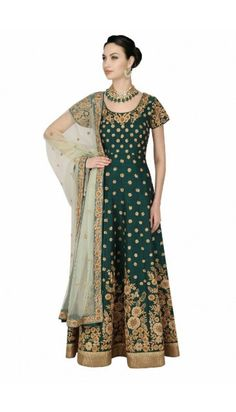 Awesome Green Banglori Silk Anarkali Churidar Suit With Dupatta - DMV14917