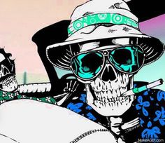 Hunter S Thompson Fear and Loathing Psychedelic Art, Illustrations, Illustration Art, Pop Art, Hunter S Thompson, Totenkopf Tattoos, Fear And Loathing, Skull Design, Skull And Bones