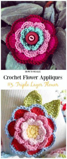 Triple Layer Flower Free Crochet Pattern-Easy #Crochet #Flower Appliques Free Patterns