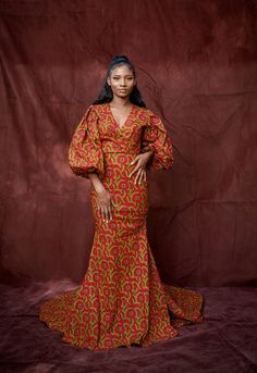 Red African Wedding and Party Dress, Multicolor African Dress, Red African Print Prom Dress, African A line Dresses Wear it to a wedding ,dinner,prom ....many more events and turn heads (start a conversation to discuss fabric options if you'd like something different ) the full length of the dress African Jumpsuit, African Dress, Ankara Gowns, Ankara Dress, Off Shoulder Jumpsuit, Wedding Jumpsuit, Tube Dress, Prom Dresses, Long Dresses