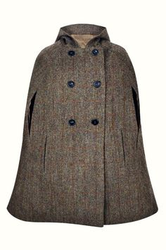 Hepburn Earth Hooded - Luxuriously crafted in a classic brown & green Harris Tweed, this timeless cape embodies the country chic lifestyle and offers an elegant replacement to your classic cool weather jacket. With its large, slouched hood, this cape will be the perfect choice for outerwear all year around. Capes For Women, Harris Tweed, Great British, Fashion Line, Country Chic, Stylish Outfits, Vintage Inspired, Hoods, Coat