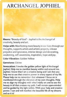 Archangel Jophiel.  Repinned by An Angel's Touch, LLC, d/b/a WCF Commercial Green Cleaning Co., Denver's Property Cleaning Specialists.  http://angelsgreencleaning.net