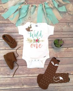 Wild One Wild One Birthday Bodysuit (or T-Shirt, Sleep Sack or Fringe Dress) - Accessories NOT included This adorable Boho design is so gorgeous and unique with a gold style ornate arrow with watercol
