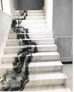 White marble stairs from CK Stones Thailand. This black and white marble . Panda White marble stairs from CK Stones Thailand. This black and white marble .,Panda White marble stairs from CK Stones Thailand. This black and whi. Marble Room, White Marble Kitchen, Black And White Marble, Marble House, White Stone, Marble Wall, Marble Staircase, Modern Staircase, Staircase Design