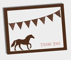 DIY Printable Pony Party - Thank You Cards - Vintage Style, Shabby Chic - pony invite & decorations available. $8.00, via Etsy.