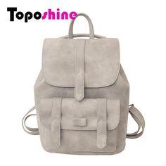 Toposhine Famous Brand Backpack Women Backpacks Solid Vintage Girls School  Bags for Girls Black PU Leather Women Backpack 1523 0edcd9a23967f