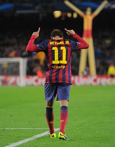 Neymar of FC Barcelona celebrates after scoring his team's 5th goal during the UEFA Champions League, Group H match between FC Barcelona and Celtic FC at the Camp Nou Stadium on December 11, 2013 in Barcelona, Catalonia.
