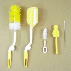 5pcs/set brand sponge plastic glass milk water newborn baby bottle brush feeding nipple straw mother kids products accessories