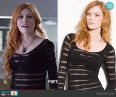 Clary's black mesh striped top on Shadowhunters.  Outfit Details: https://wornontv.net/64630/ #Shadowhunters