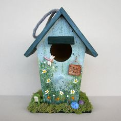 Birdhouse with Frog in Yard by sanquicreations on Etsy, $8.99