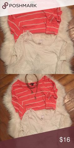 AE- Aerie Three Quarter Length Tee- Shirt Bundle American Eagle Striped Cotton Top & White Aerie Cotton Star Embellishment Top.  Sold Together.  Both Tops Flowy and Comfy.  Both Worn a Handful of Times, in Good Condition. American Eagle Outfitters Tops Tees - Long Sleeve