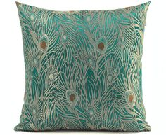 """Decorative Teal Throw Pillow Cover 18""""x18"""" Peacock Design on Etsy, $16.98"""