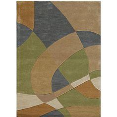 @Overstock - The Geometric rug features a pattern containing green, grey-blue, beige, tan and goldish brown colors. This area rug was hand-tufted of 100-percent wool.http://www.overstock.com/Home-Garden/Hand-tufted-Geometric-Multi-Wool-Rug-8-x-11/4786614/product.html?CID=214117 $259.24