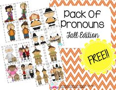 Speechie Freebies: Pack of Pronouns-Fall Edition! Pinned by SOS Inc. Resources. Follow all our boards at pinterest.com/sostherapy/ for therapy resources.
