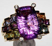 Bellarri 18K Riviera Collection Ring with Amethyst Diamonds and Multi Gemstones