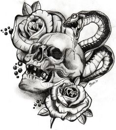 Evil  skull Drawings with gun | skull and snake by boise by schubert1976 traditional art drawings ...