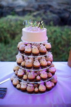 We aren't cake people so we did cupcakes and an 8 inch cake on top for cutting. Got my own cake toppers and used fresh orchids for decor