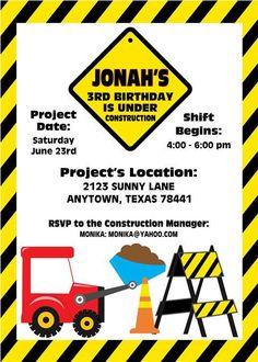Dump Truck Birthday Party Invitations by PaperMonkeyCompany, $1.00