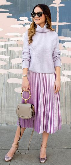 Grey Turtleneck / Pink Pleated Skirt