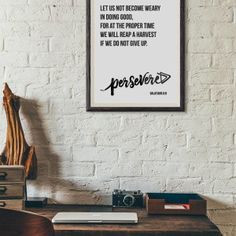 Persevere, Hebrews, Let us not become weary, Art Print, Gallery Wall, Encouraging, Gift, Office, Minimalist, Minimalism, Shop Small, Business, Activism, One Word Life