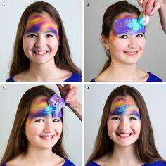 Maquillage Grim'Tout  réalisé avec le Pochoir maquillage Galaxie