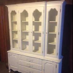 Vintage dark brown china hutch painted bright white - repurposed