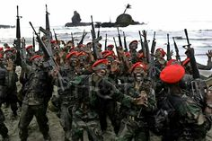 Indonesia Kopassus - completing their training to become part of one of Indonesia elite force.