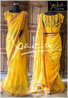 Trendy designer sarees with vibrant colors designed by Yaksi Deepthi Reddy.For orders/enquiries contact  Yaksi Deepthi Reddy Adress:  Raod No.4, Banjarahills,Hyderabad Contact Number:  91 93461 83949  http://www.maguvathefashionworld.com/2014/11/beautiful-designer-sarees-by-yaksi.html#.VGOnd7jF8kM