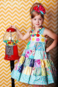 Avalon Patchwork Twirly Dress Boutique outfit by LittleWel Girls Boutique Dresses, Little Dresses, Little Girl Dresses, Fashion Kids, Office Fashion, Vestidos Boutique, Vetements Clothing, Kids Dress Patterns, Kids Frocks