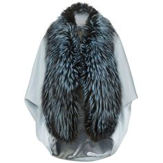 Lilly e Violetta Fox Fur Cashmere Cape ($4,865) ❤ liked on Polyvore featuring outerwear, cape coat, lilly e violetta, blue cape coat, cashmere cape and blue cape