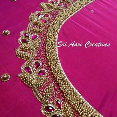 Our Sri Aari Creatives student's work. Cutwork Blouse Designs, Wedding Saree Blouse Designs, Pattu Saree Blouse Designs, Simple Blouse Designs, Embroidery Neck Designs, Embroidery Patterns, Border Embroidery, Hand Work Blouse Design, Aari Work Blouse