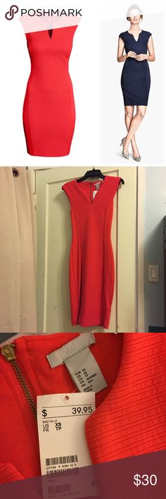 🎄 NWT H&M XS Holiday Red Bodycon Midi Dress Never worn, tags still attached. Perfect classy but sexy holiday dress in red w/ an exposed back zipper and slimming panels. I'm 4'11 and it fits me like a midi, but if you're taller, it'll fit like the model photos. Pictures are stock photos plus my own.                                Measurements: 14in across chest, 11.5 waist, 15 hips, 37.5 total length.                                           I include free 🎁 w/ orders $25+ and bundle. Make…