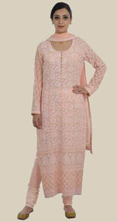 Nude Peach Intricate Chikankari and Kamdani Suit With Dupatta Indian Suits, Punjabi Suits, Indian Dresses, Indian Wear, Ethnic Fashion, Asian Fashion, Women's Fashion, Designer Dress For Men, Designer Dresses