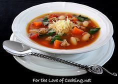 For the Love of Cooking » Vegetable Soup with Turkey Italian Sausage, White Beans, and Spinach AND a Giveaway!