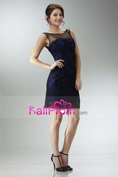 2015 Bateau Sheath/Column Homecoming Dress Short/Mini With Black Lace