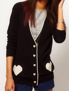 Black Single Breasted Heart Print Pockets Sweater